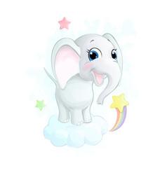 Cute little cartoon elephant on cloud vector