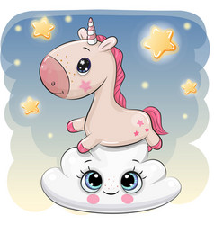 Cute unicorn a on the cloud vector