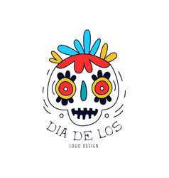 dia de los logo mexican day of the dead holiday vector image