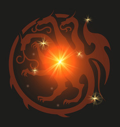 dragon emblem heraldic style vector image