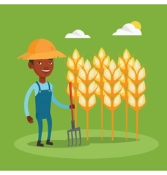 Farmer with pitchfork at wheat field vector