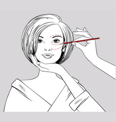 female hands draw lines on girls face vector image