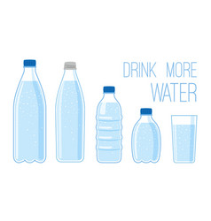 flat bottles with mineral water vector image