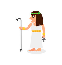 Flat icon of egyptian queen with scepter vector