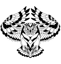 Flying owl outline vector