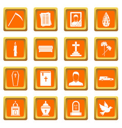 Funeral icons set orange vector