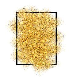 gold glitter sand in black frame isolated white vector image