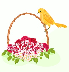 Golden-bird-and-flowers vector