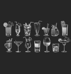 hand drawn cocktails sketch cocktail set vector image