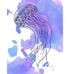 Hand drawn jellyfish in zentangle doodle style vector image