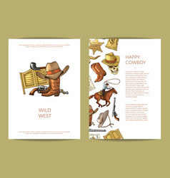 hand drawn wild west cowboy elements card vector image