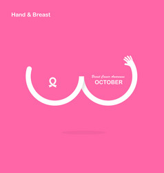 Hand shape amp breast iconbreast cancer october vector
