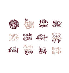 Hand written cooking lettering set on white vector