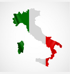 hanging italy flag in form map italian vector image