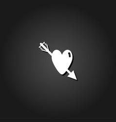 heart pierced by an arrow icon flat vector image
