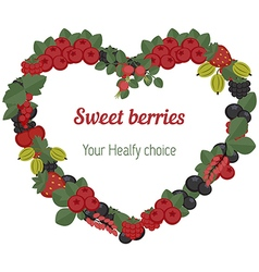 Heart with different berries icons vector image