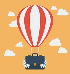 Hot air balloon with suitcase full of money vector