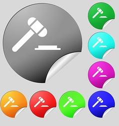 Judge hammer icon Set of eight multi colored round vector