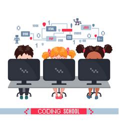 Kids learn coding on laptops in school vector