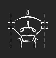 lane keeping assist chalk white icon on black vector image