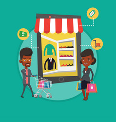 man and woman doing shopping online vector image