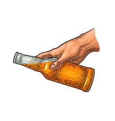 Man hand holding beer bottle vintage color vector