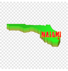 Map of florida with miami icon cartoon style vector