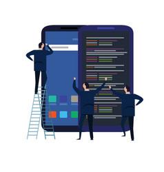 Mobile application and design development process vector