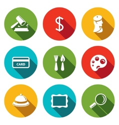 Museum flat icon collection vector image