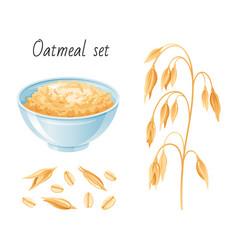 Oat meal set bowl oatmeal ear flake breakfast vector