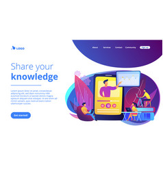 Online teaching concept landing page vector