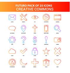 Orange futuro 25 creative commons icon set vector