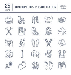 orthopedic trauma rehabilitation line icons vector image