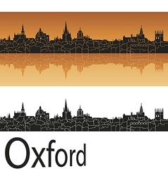 Oxford skyline in orange background vector