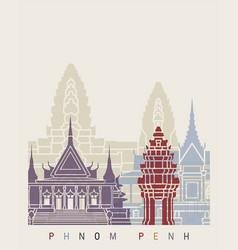 Phnom penh skyline poster vector