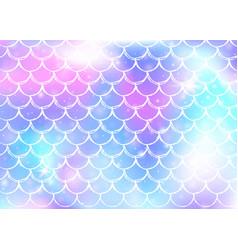 Princess mermaid background with kawaii rainbow vector