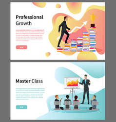 Professional growth and master class online pages vector