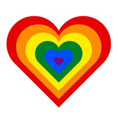 Rainbow pride flag lgbt movement in heart shape vector