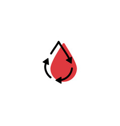 recycle blood drop donor circulation logo icon vector image