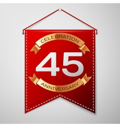 Red pennant with inscription Forty five Years vector