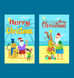 santa claus making photo with snowman made of sand vector image