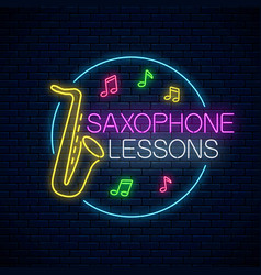 Saxophone lessons glowing neon poster or banner vector