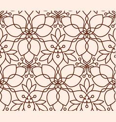 Seamless linear flower pattern on beige background vector