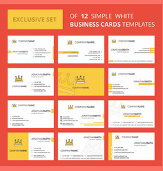 set of 12 crown creative busienss card template vector image