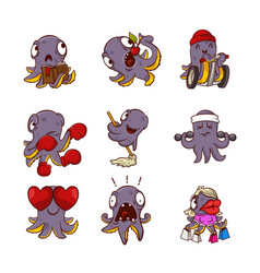 set of funny purple octopuses in different vector image