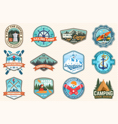 set sailing camp canoe snowboarding climbing vector image