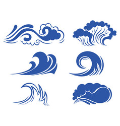 set sea waves collection stylized waves for vector image
