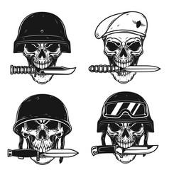Set skull in military helmet with knife vector