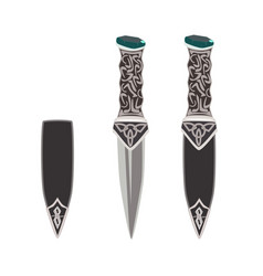 sgian dubh scottish black knife vector image