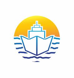 Ship sunset logo design template vector